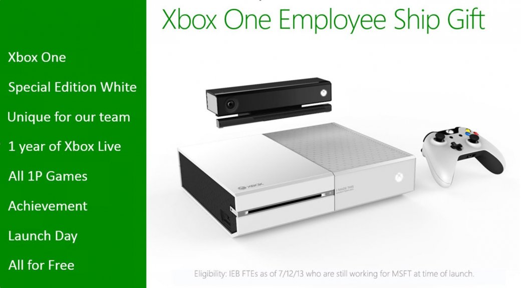 Сотрудники Microsoft получат в подарок белую консоль Xbox One - Изображение 1