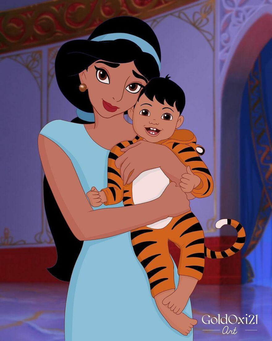 Российская художница изобразила принцесс Disney ввиде мам сдетьми | Канобу - Изображение 12083